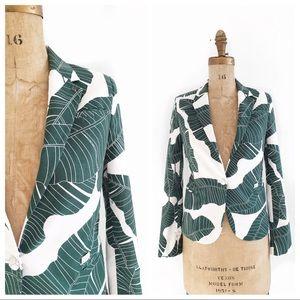 GSUS SINDUSTRIES palm frond fitted blazer.